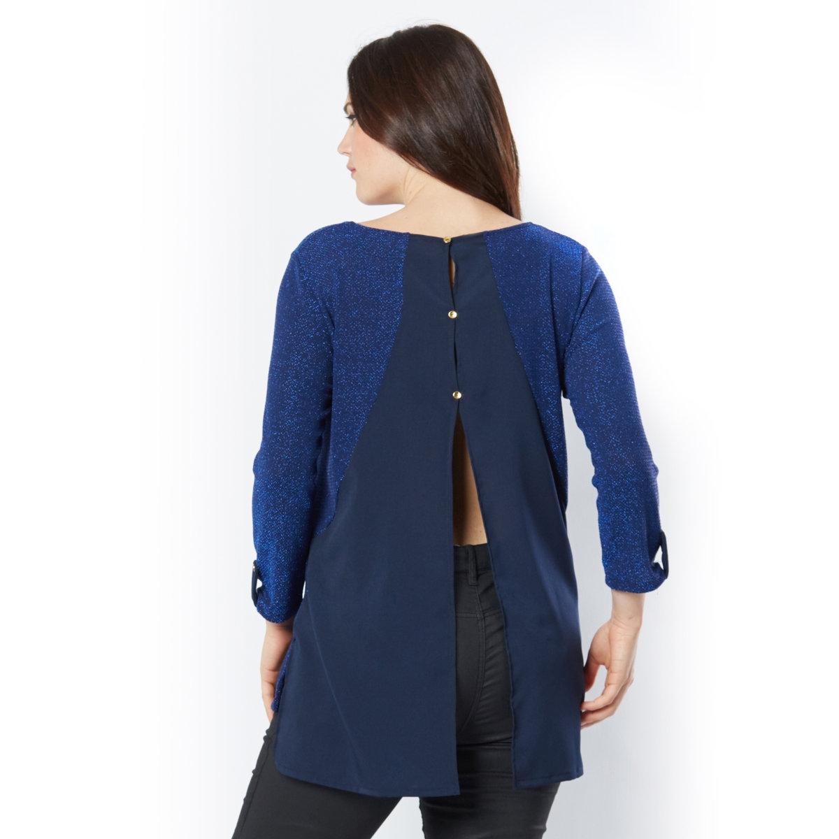 Пуловер с отделкой кружевом и прозрачной тканью на спинке