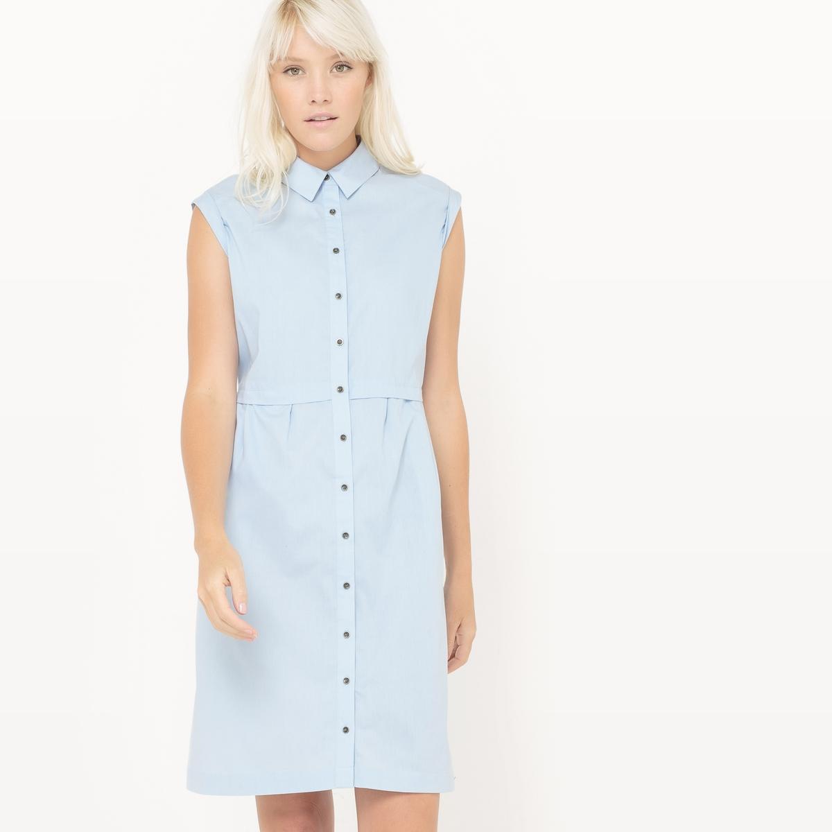 Платье-рубашка без рукавовМатериал : 100% хлопок       Длина рукава : без рукавов       Форма воротника : воротник-поло, рубашечный.      Покрой платья : платье прямого покроя   Рисунок : Однотонная модель        Длина платья : до колен      Стирка : Стирать при температуре 30°.      Уход : Сухая чистка и отбеливание запрещены      Машинная сушка : Машинная сушка запрещена      Глажка : Гладить при низкой температуре.<br><br>Цвет: небесно-голубой,темно-синий<br>Размер: 46 (FR) - 52 (RUS).38 (FR) - 44 (RUS).36 (FR) - 42 (RUS).48 (FR) - 54 (RUS).38 (FR) - 44 (RUS)
