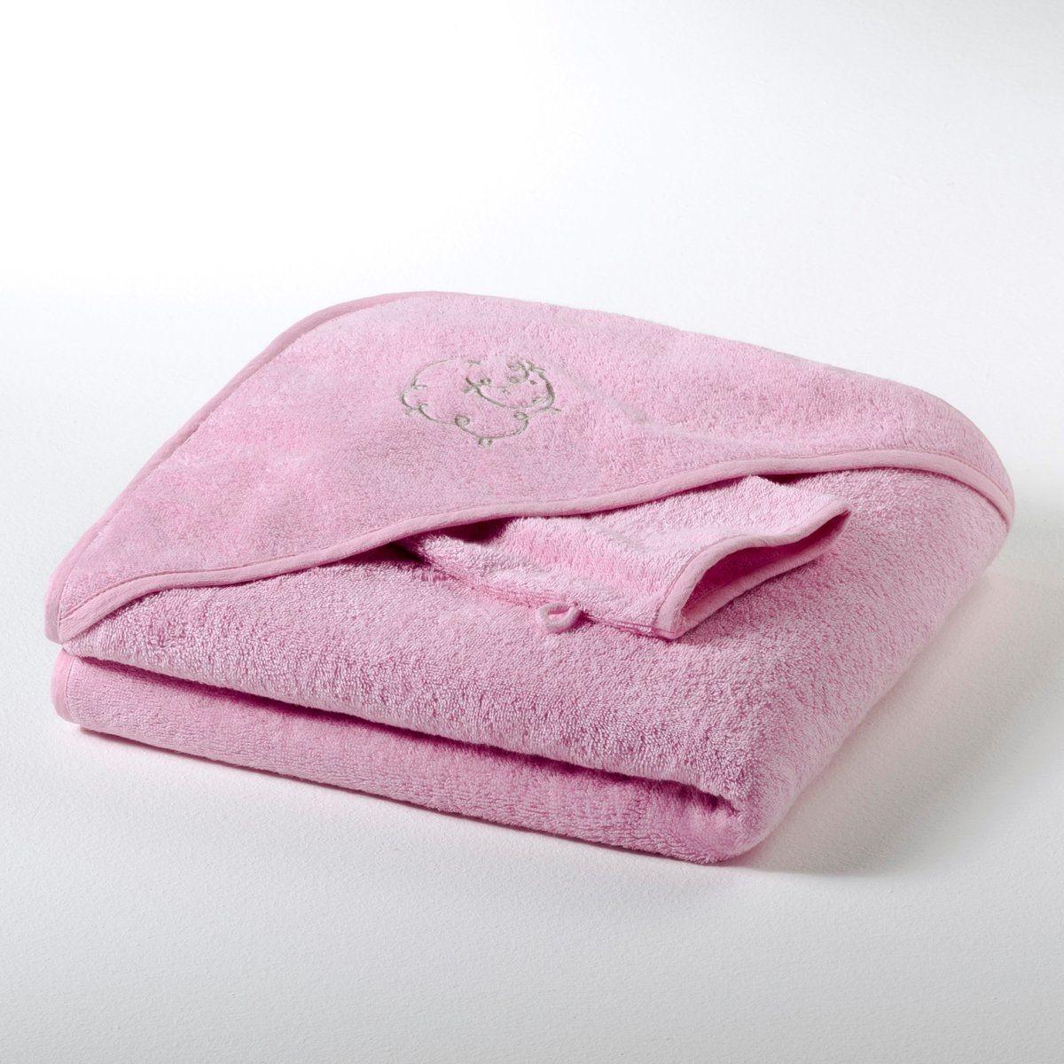 Cape de bain + gant bébé éponge 420 g/m² fille et
