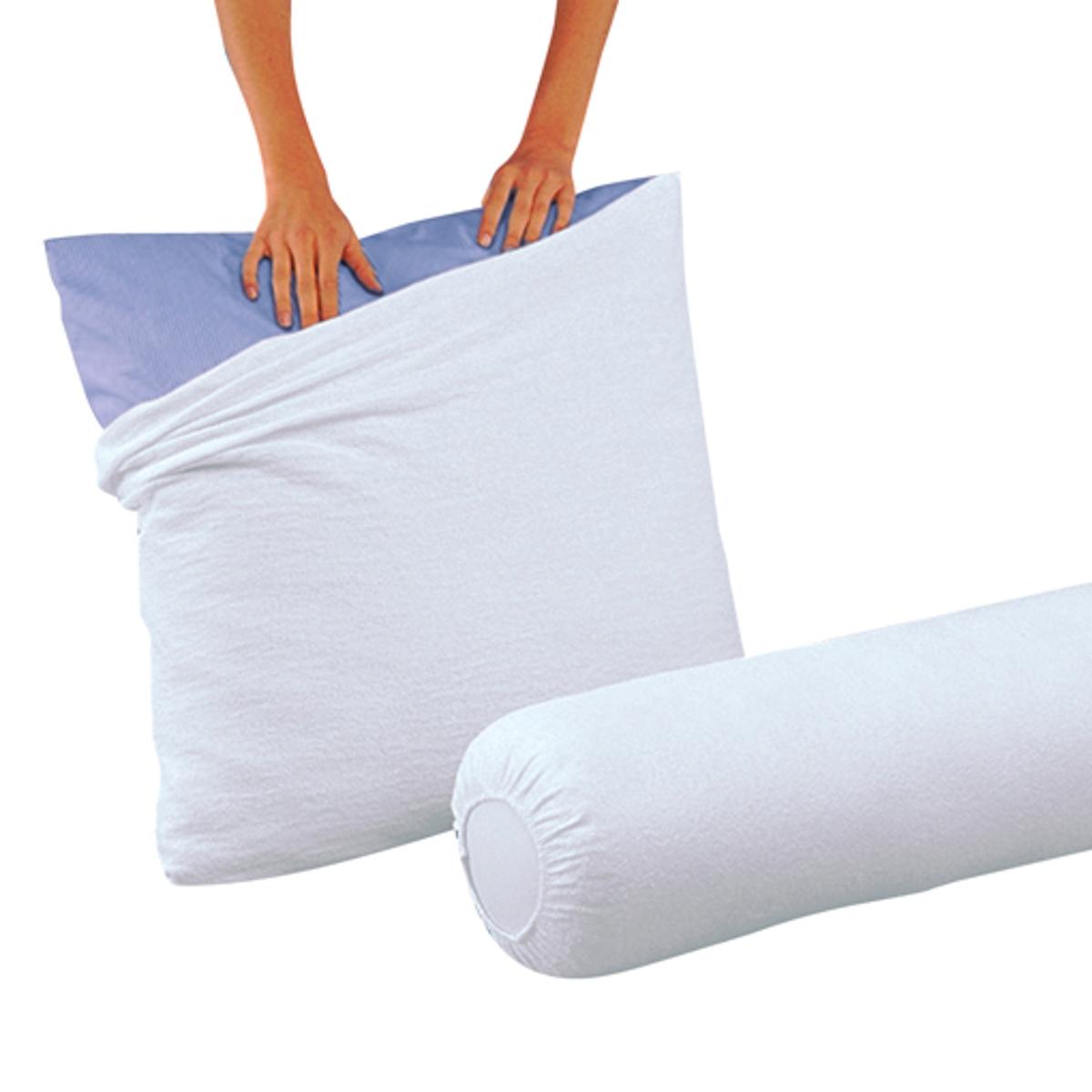Чехол защитный на подушку-валик из махровой ткани с обработкой против клещей