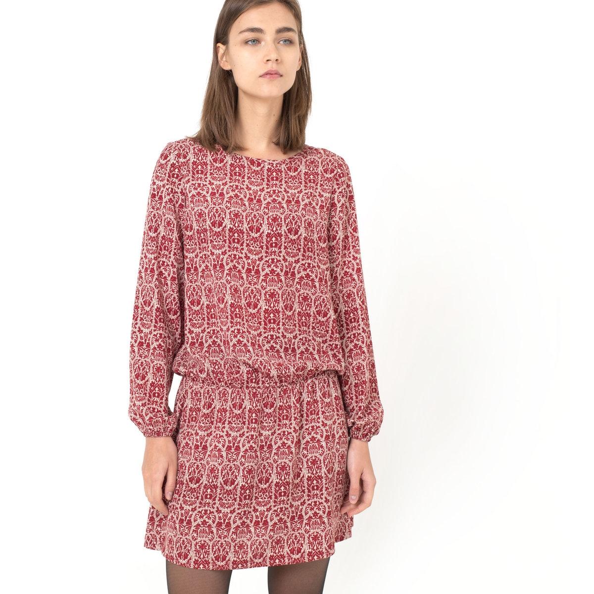 Платье с рисункомПлатье с рисунком, 100% вискоза. Вырез-лодочка. Эластичный пояс. Длинные рукава. Эластичный пояс. Длина ок.93 см.<br><br>Цвет: набивной рисунок<br>Размер: 42 (FR) - 48 (RUS)