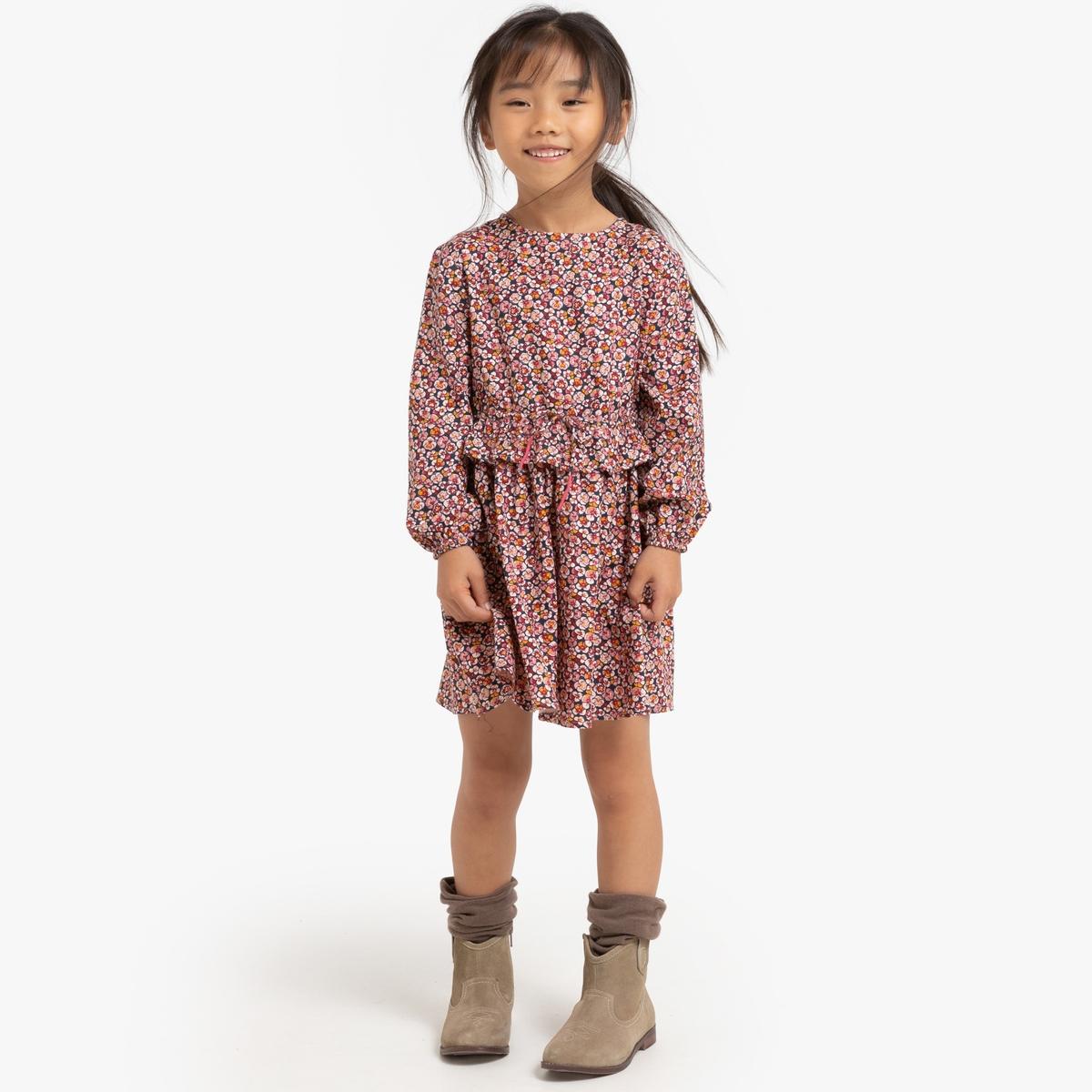 Платье La Redoute Струящееся с длинными рукавами и цветочным рисунком 12 лет -150 см другие пижама la redoute с шортами и цветочным принтом 12 лет 150 см другие