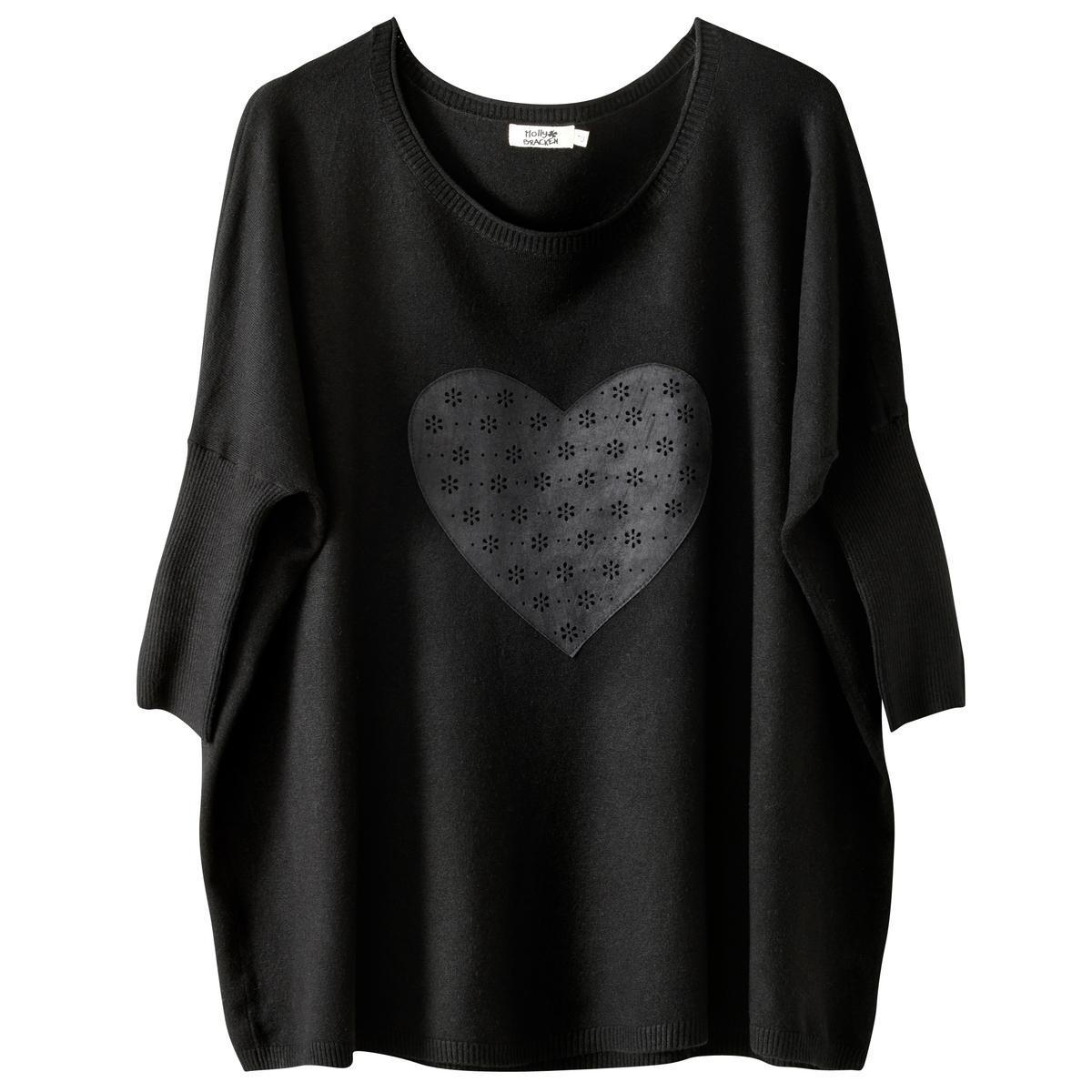 Пуловер с рисунком сердце, вырез-лодочкаСостав и описание :Материал : 55% растительных волокон, 45% полиэстера Марка : MOLLY BRACKEN.<br><br>Цвет: черный<br>Размер: единый размер