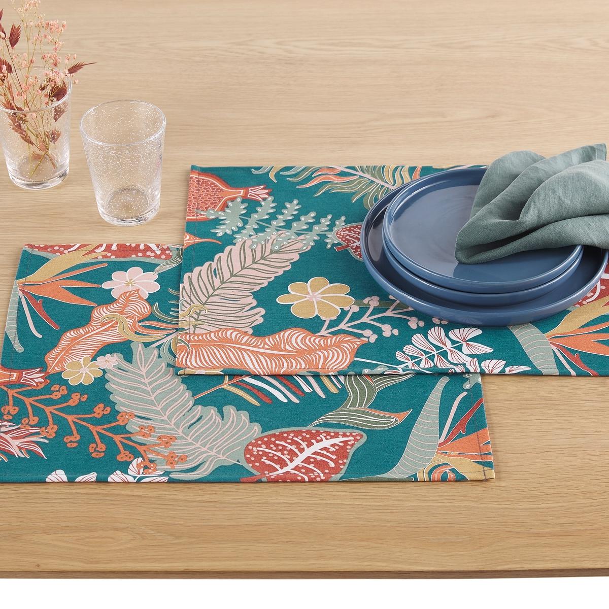 Комплект из подставок под La Redoute Приборы с рисунком Tropic с обработкой против пятен единый размер синий цена 2017