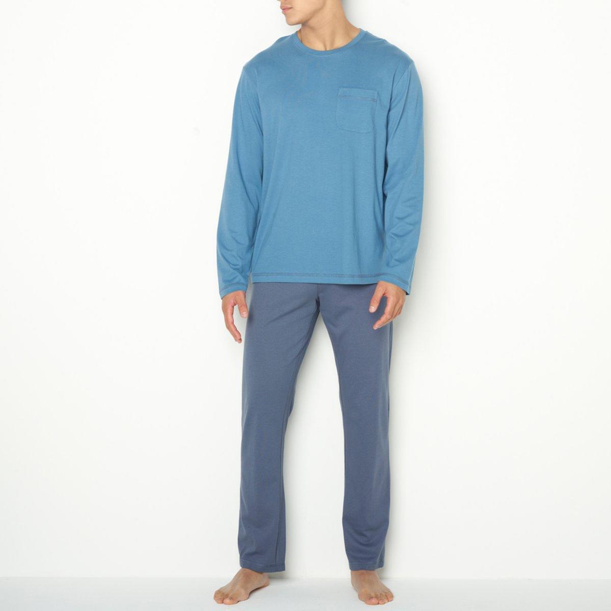 ПижамаДжерси, 100% хлопка. Футболка с длинными рукавами, круглым вырезом, нагрудным карманом и контрастной строчкой. Брюки с эластичным поясом.<br><br>Цвет: серый/ антрацит,синий/ темно-синий<br>Размер: S.XXL.XXL