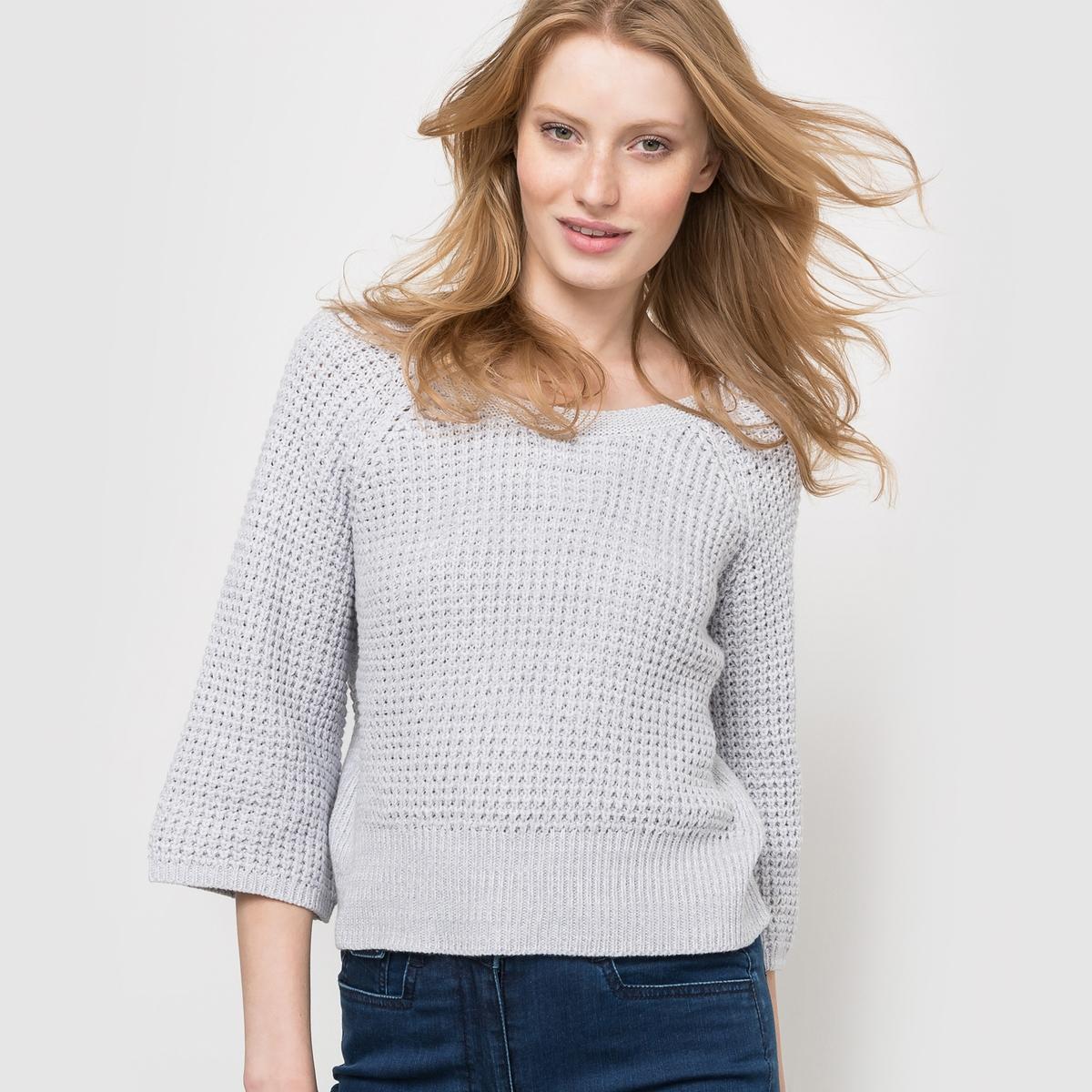 Пуловер короткий с вырезом сзадиКороткий пуловер из плотного трикотажа с вафельным переплетением. Глубокий V-образный вырез на спине, круглый вырез спереди. Широкие рукава 3/4. Края низа, выреза и рукавов связаны в широкий рубчик.Состав и описаниеМатериал : 40% акрила, 60% хлопкаДлина : 51 смУход Машинная стирка при 30 °С<br><br>Цвет: серый меланж