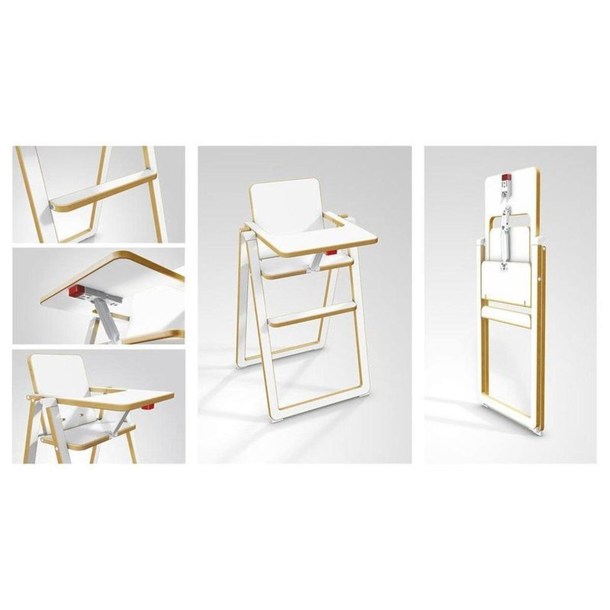 Chaise haute pliante Supaflat hêtre blanc