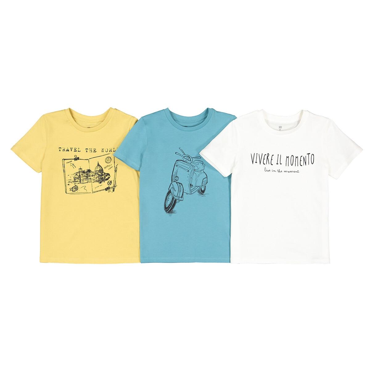 Комплект из 3 футболок с LaRedoute Принтом из биохлопка 3-12 лет 5 бежевый
