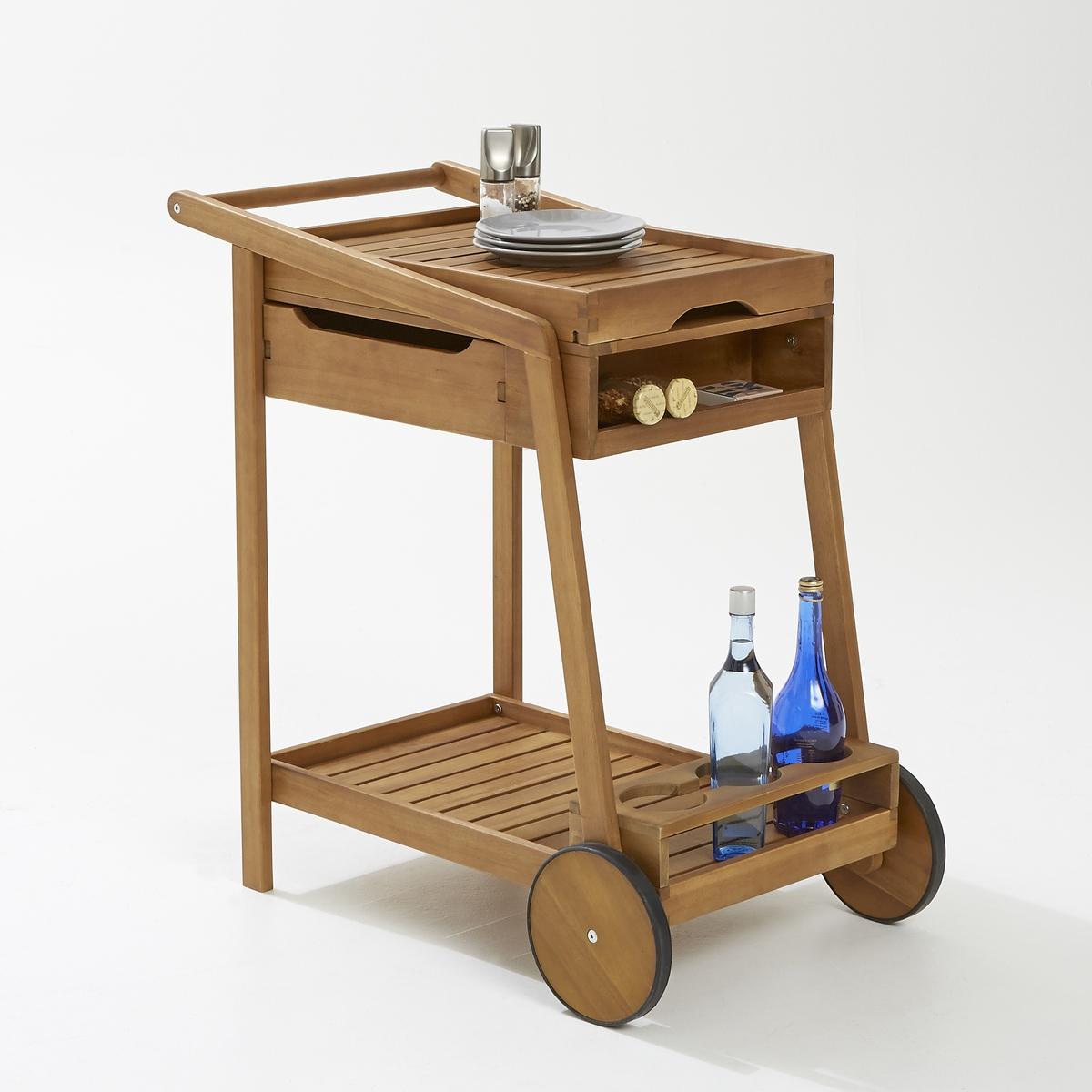 Столик сервировочный на колесиках,  2 полки и съемная столешницаИдеальный для сада или террасы, ваш столик на колесиках сослужит вам хорошую службу во время  обеда на природе !2 уровня, съемная столешница, ящик для вещей, отделение для бутылок, этот столик легко перемещать на колесах во время трапезы на террасе. Строгий и элегантный столик из акации идеально разнообразит ваш арсенал садовой мебели .Характеристики  :Прямоугольная форма 2колесика 2 полки 1 ящик  отделение для бутылок Древесина акации Размеры большого столика :Длина : 50смШирина : 85смВысота : 85смВес : 12кгРазмеры столешницы :Длина 58см  x Ширина  43.7см x высота 6см Размеры упаковки :1 упаковкаДлина 131смШирина  44.5Высота 18смВес : 15 кг Качество :Акация-дерево с уникальными механическими свойствами: прочность(устойчивость к насекомым и грибкам),и влажности(чередование сухих и влажных периодов).<br><br>Цвет: акация