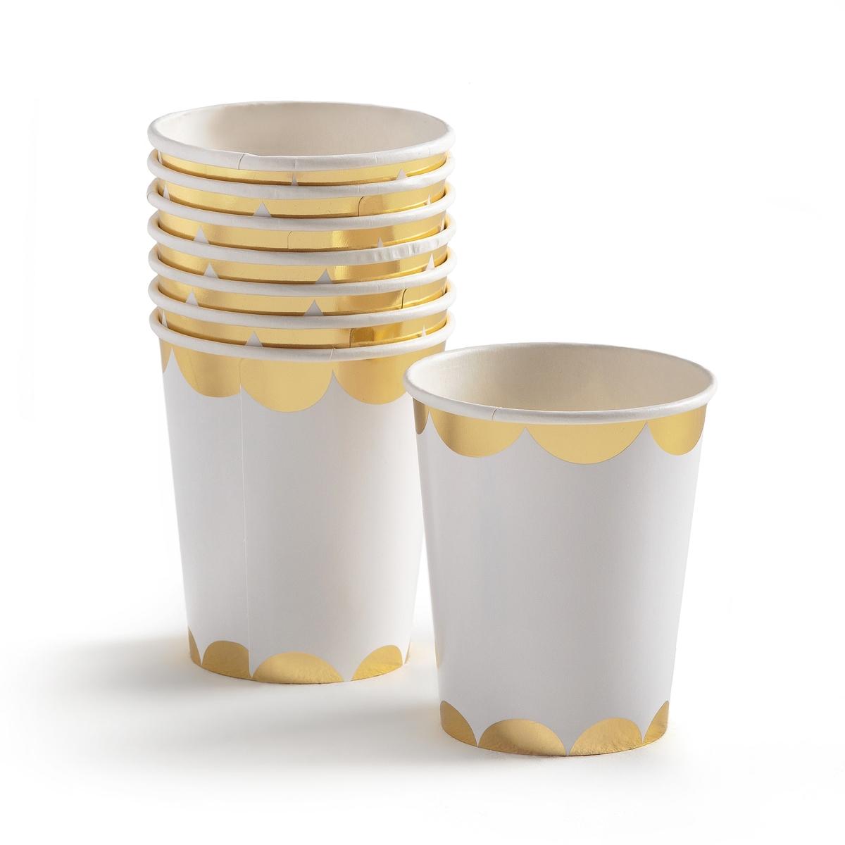 8 стаканчиков одноразовых с золотистым рисунком LASINI