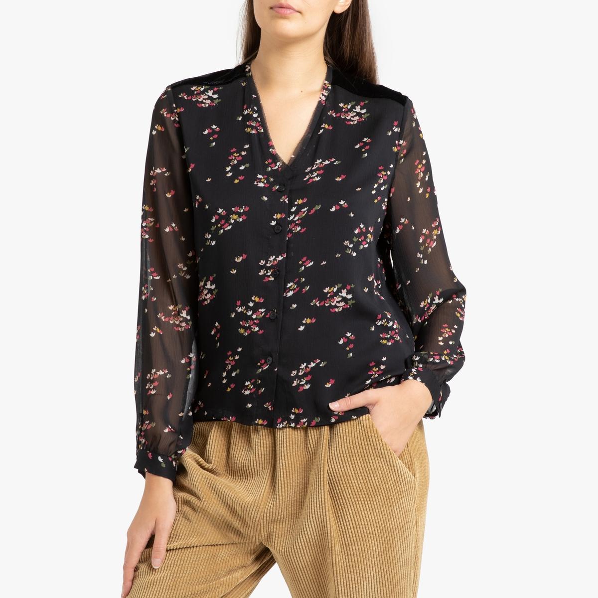 Блузка La Redoute С V-образным вырезом и длинными рукавами CLEM S черный блузка la redoute с круглым вырезом цветочным рисунком и длинными рукавами s черный