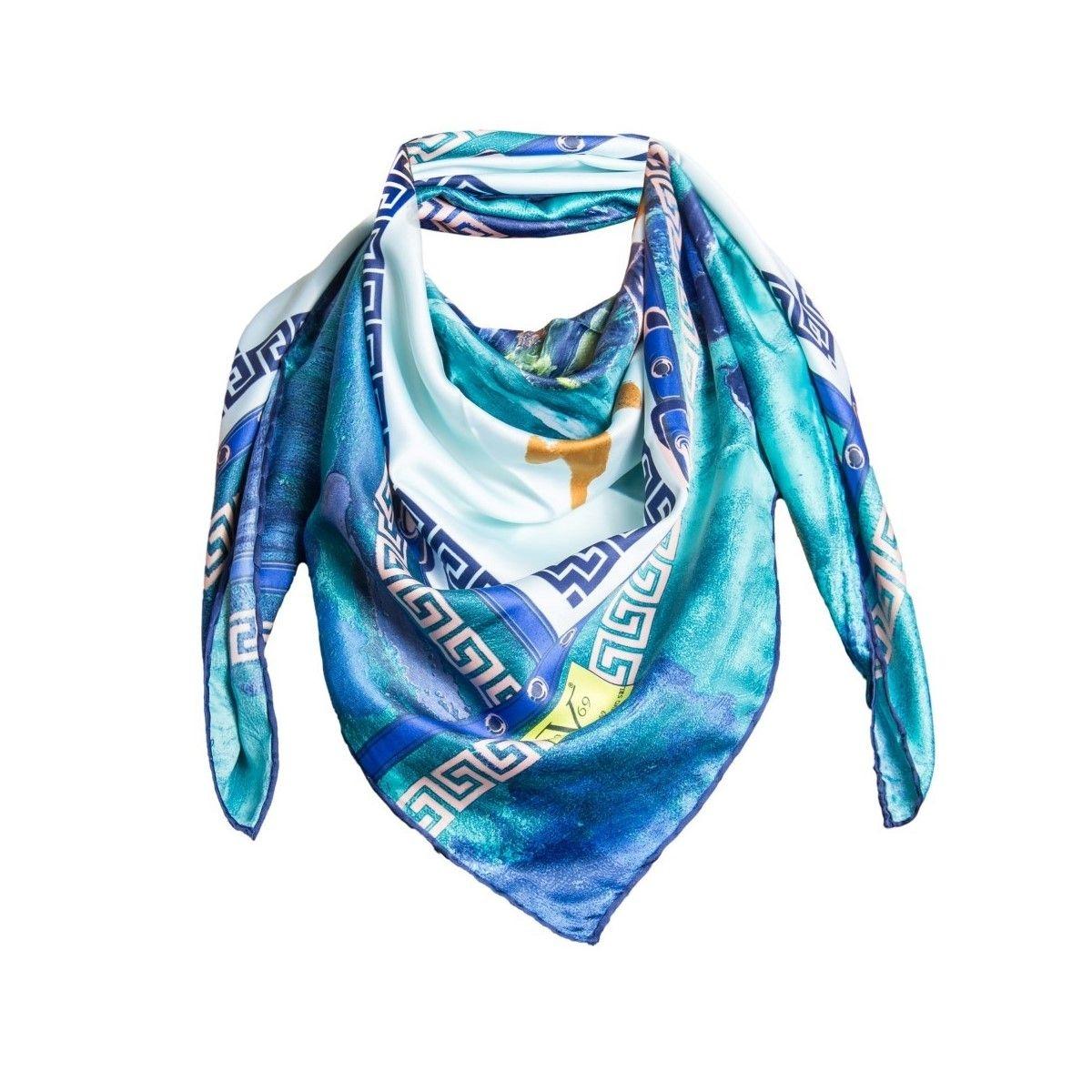 Foulard en soie motif Menthe Saumon avec sa pochette cadeau