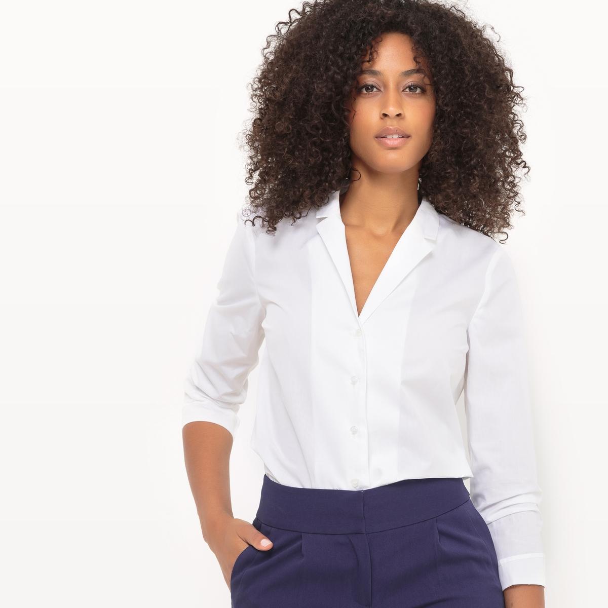 Рубашка приталенная из хлопка с костюмным воротником пальто с костюмным воротником