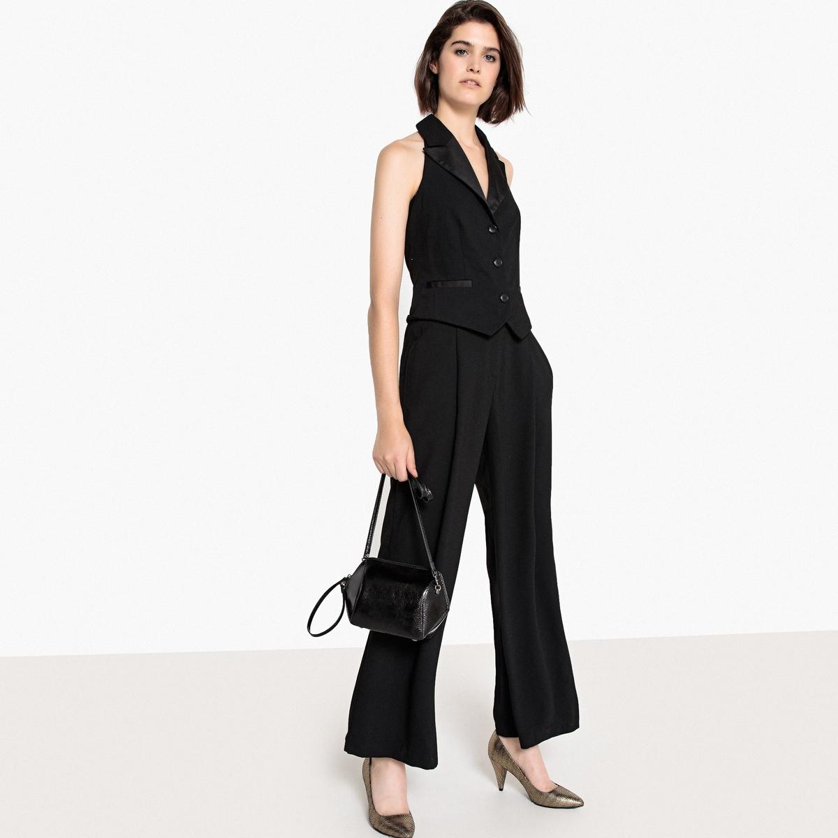 Комбинезон с брюками, без рукавов, с открытой спинкой комбинация с открытой спинкой и попой черная