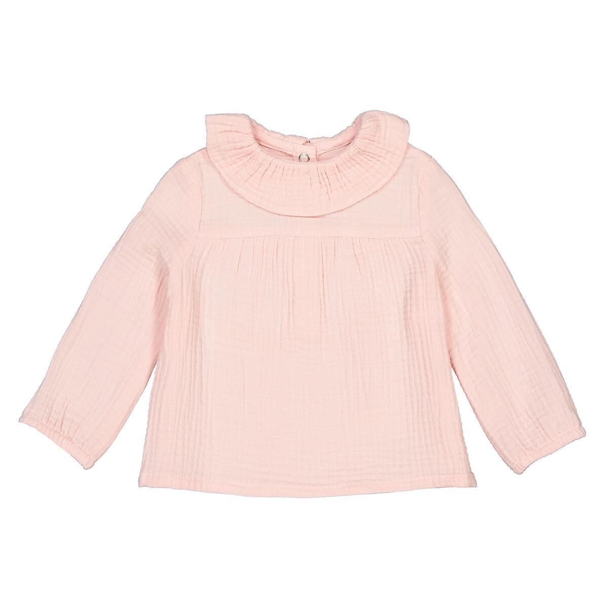 Блузка LaRedoute С воротником с воланом из хлопчатобумажной газовой ткани 1 мес-3 лет 9 мес. - 71 см розовый