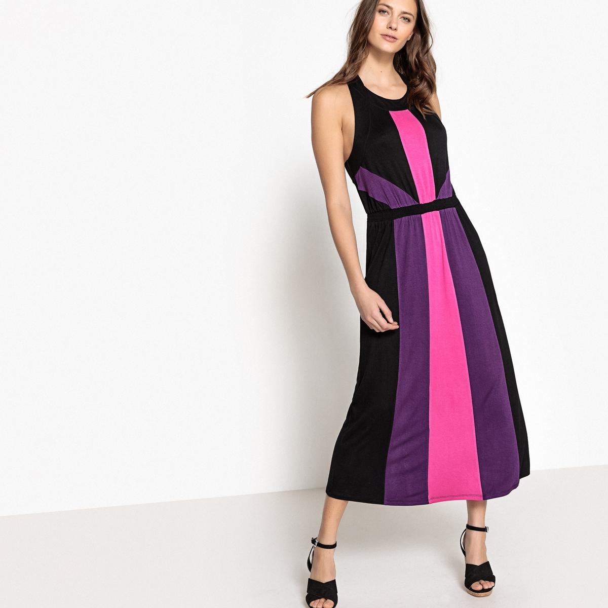 Платье длинное с рисунком колорблок, без рукавов