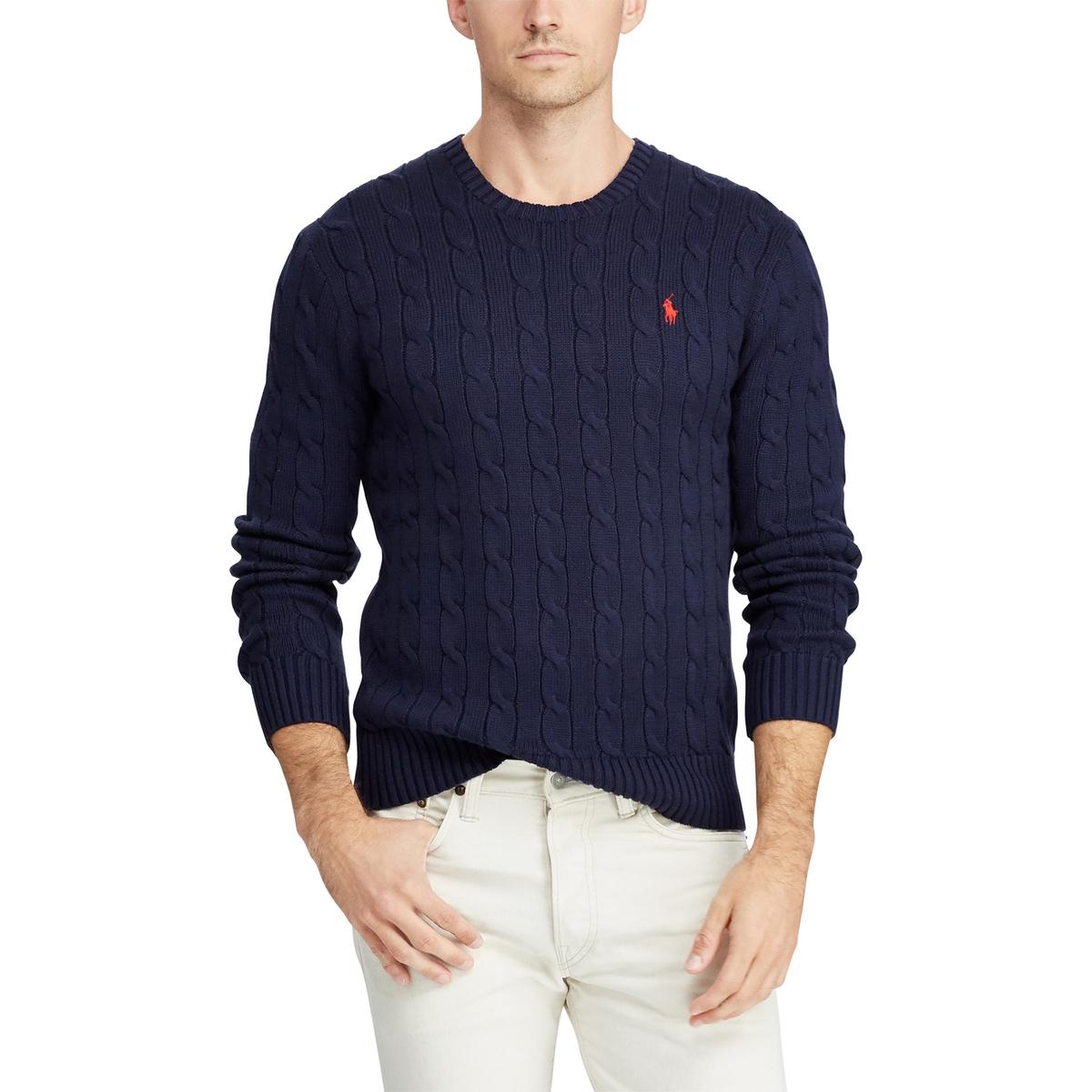 Пуловер La Redoute С круглым вырезом из витого трикотажа из хлопка S синий пуловер la redoute с круглым вырезом из плотного трикотажа 3xl синий