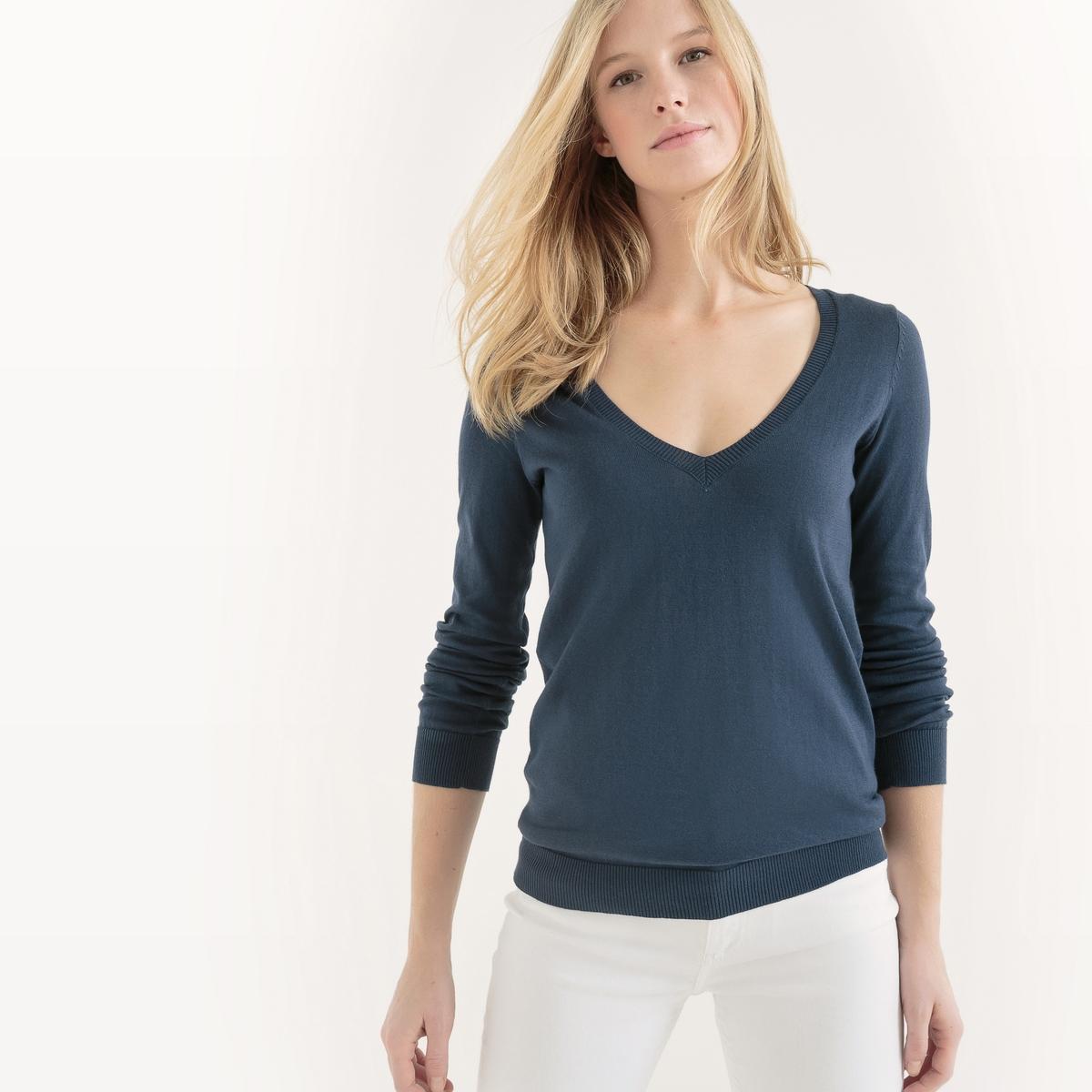 Пуловер с V-образным вырезом из биохлопка