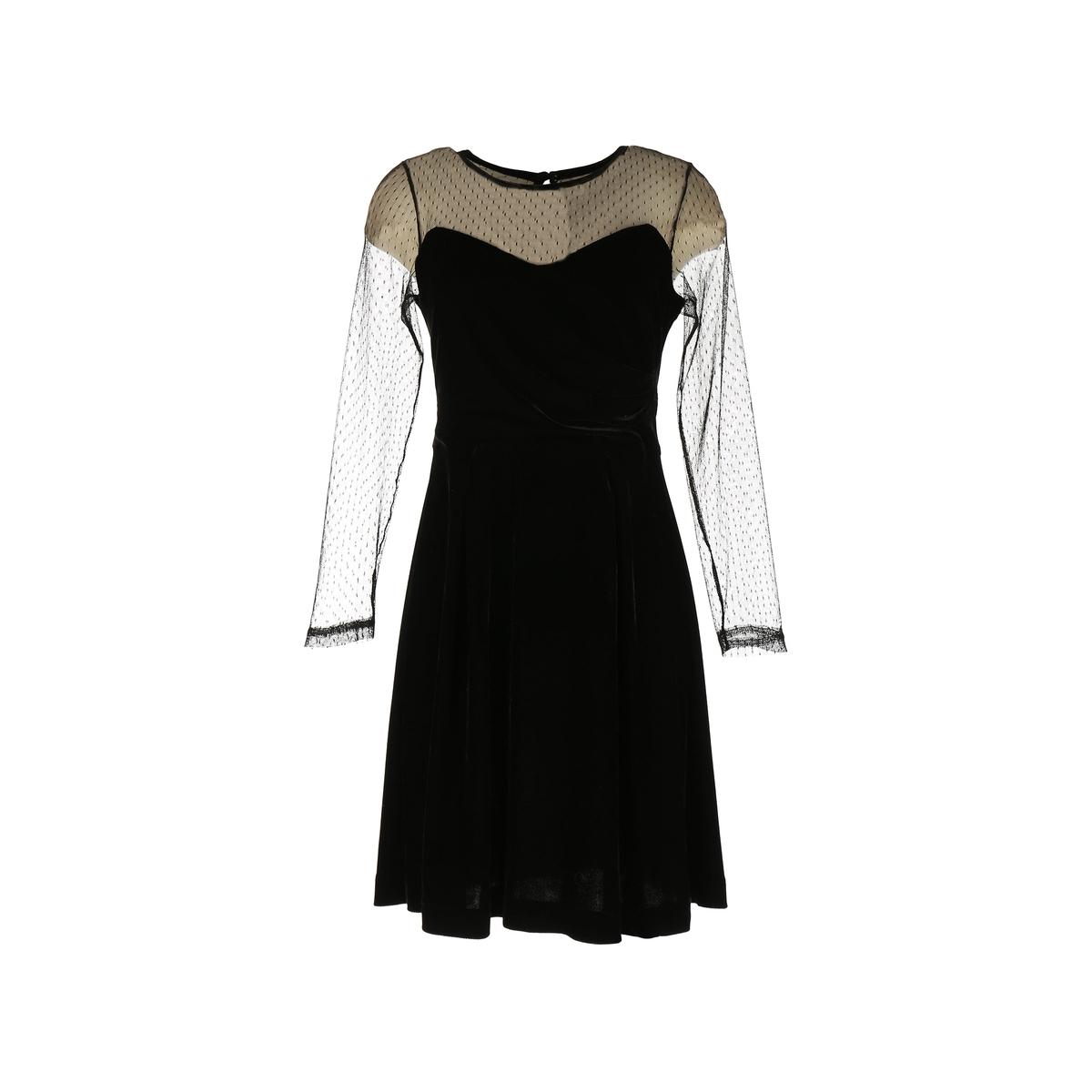 Платье короткое с длинными рукавами и кружевными вставками, расшитыми гладьюДетали •  Форма : расклешенная •  Короткое  •  Длинные рукава     •  Круглый вырезСостав и уход •  4% эластана, 96% полиэстера  •  Следуйте советам по уходу, указанным на этикетке<br><br>Цвет: черный<br>Размер: S.L