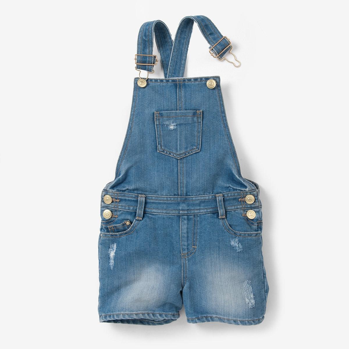 Комбинезон короткий джинсовый, 3-12 лет