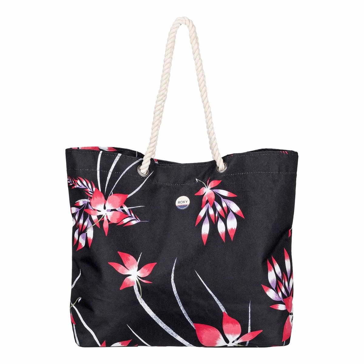 Сумка пляжная, с рисункомПляжная сумка, с тропическим рисунком, Roxy Стильная сумка с красивым рисунком отлично подходит для пляжа или отдыха. Состав и описание :Материал :  полиэстерМарка : ROXYРазмеры  : В.41 x Ш.55 x Г.14 смРучки из мягкой веревки. Нашивка из хлопка с логотипом.Объем : 26 л<br><br>Цвет: антрацит