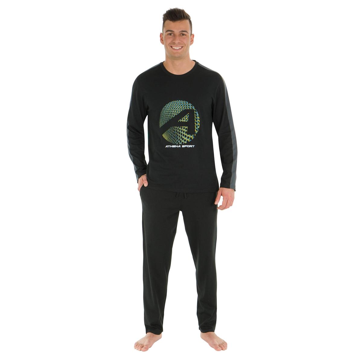 Пижама длинная из хлопка с круглым вырезом
