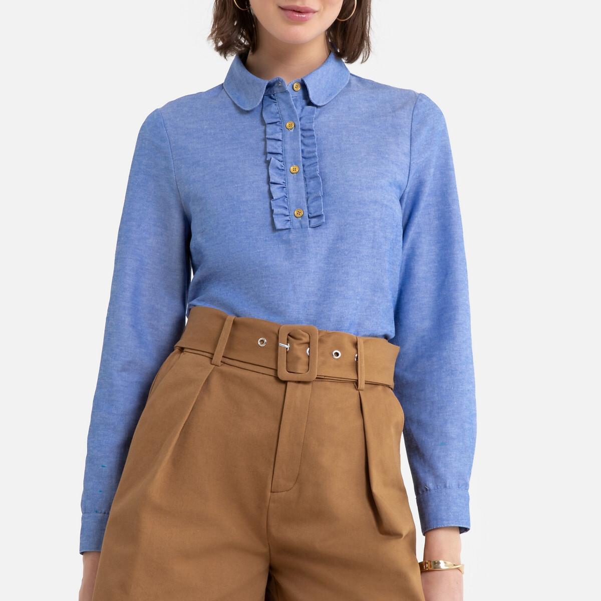 Blusa de mangas compridas, em cambraia