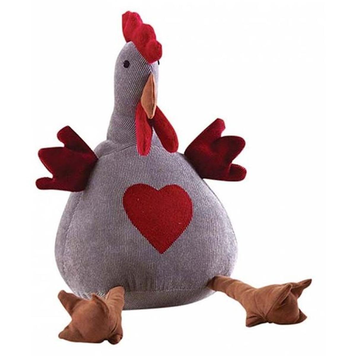 Cale-porte poule en velours avec coeur 31 cm