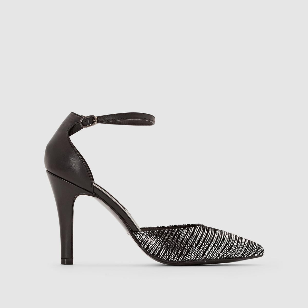 Туфли на высоком каблуке с ремешком на щиколоткеТуфли на высоком каблуке с ремешком на щиколотке, Tamaris. Верх : козья кожаПодкладка : синтетика.Стелька : синтетика.Подошва : синтетика.Застежка : ремешок на щиколоткеВысота каблука: 10 см Красивая кожа, оптимальная высота каблука, очень женственная модель с ремешком на щиколотке: в этих туфлях вы будете на высшем уровне!<br><br>Цвет: черный/ серебристый<br>Размер: 40