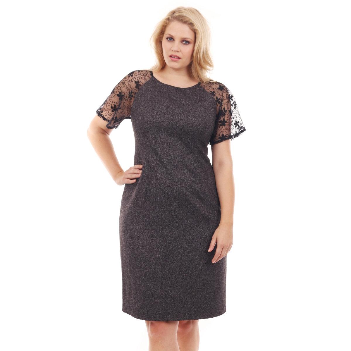 Платье однотонноеПлатье однотонное LOVEDROBE с короткими рукавами. Прозрачные рукава с отделкой кружевом. Небольшой вырез в верхней части спинки. Длина 101 см. 100% полиэстера.<br><br>Цвет: серый<br>Размер: 44 (FR) - 50 (RUS)