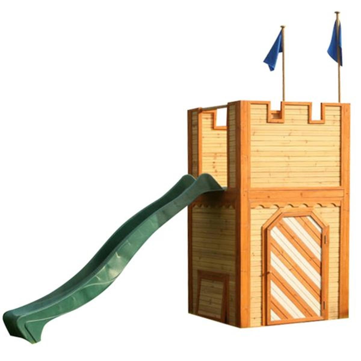 Chateau fort Arthur en cèdre avec toboggan