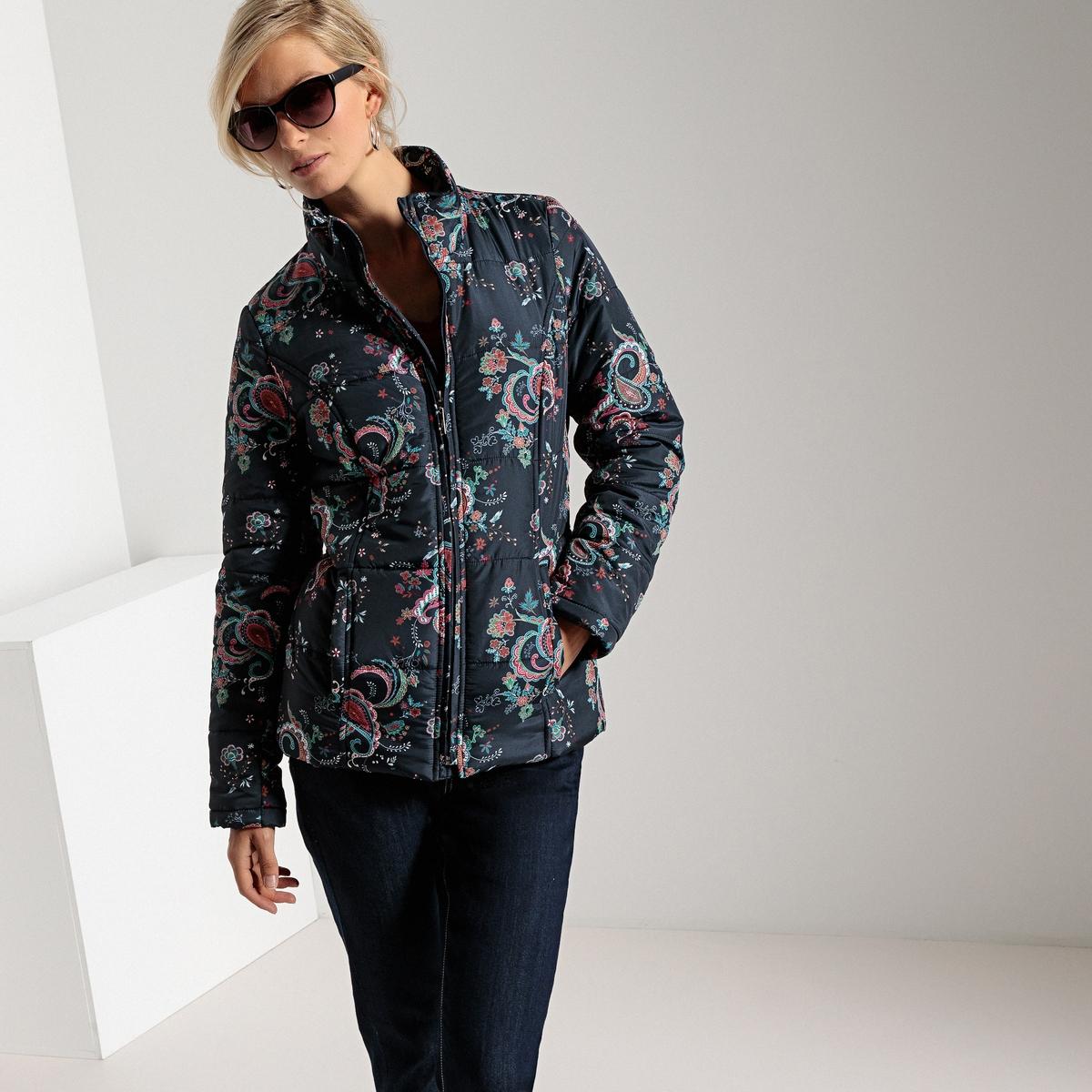 Куртка стеганая короткая с принтом и обработкой Тефлон® куртка стеганая короткая с леопардовым принтом