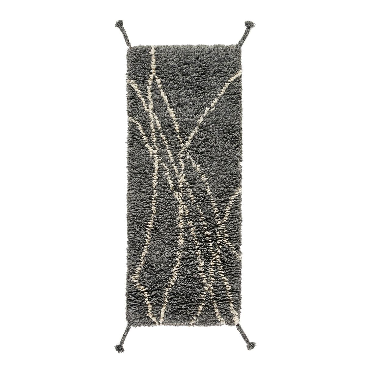 Ковер La Redoute Для коридора в берберском стиле из шерсти Louka 80 x 200 см серый