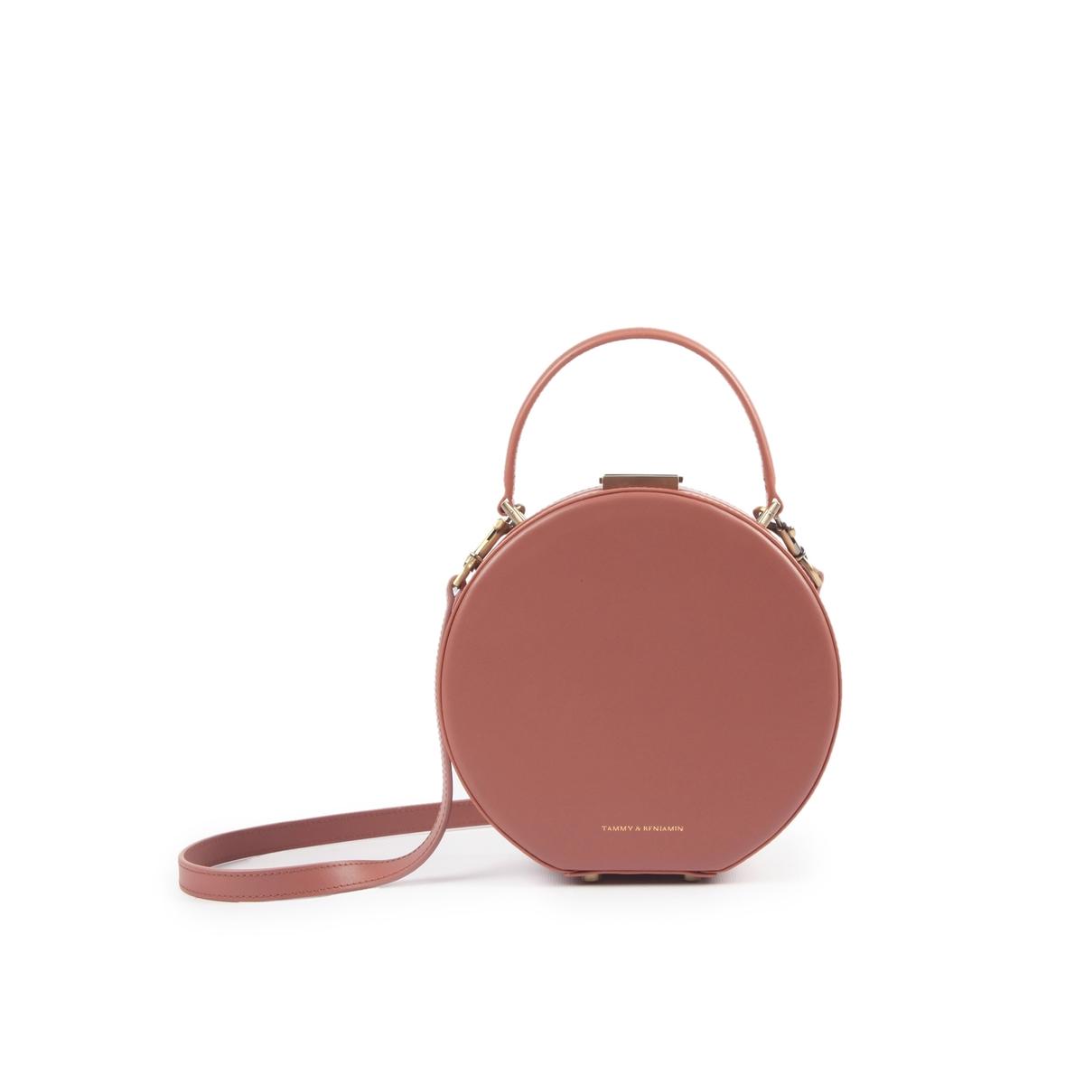Сумка La Redoute Круглая на молнии HATBOX MINI COWHIDE единый размер розовый