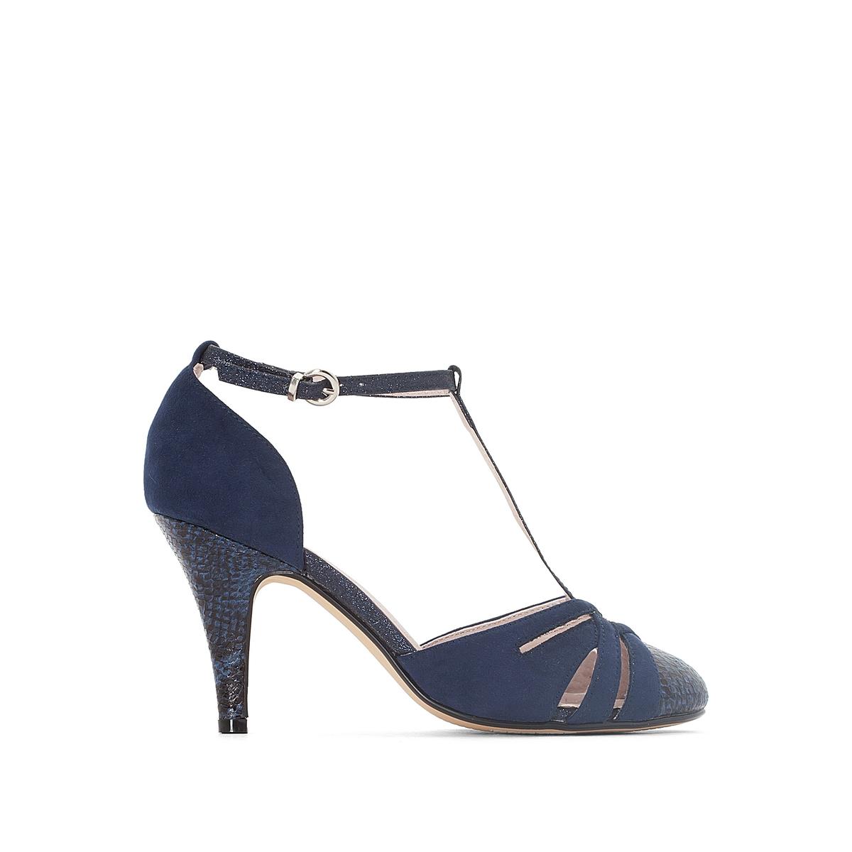 Туфли из синтетикиДетали  •  Каблук-шпилька •  Высота каблука : 9 см •  Застежка : ремешок/пряжка •  Круглый мысок  •  Гладкая отделка Состав и уход  • Верх/Голенище 100% синтетика   • Подкладка 100% кожа<br><br>Цвет: синий морской