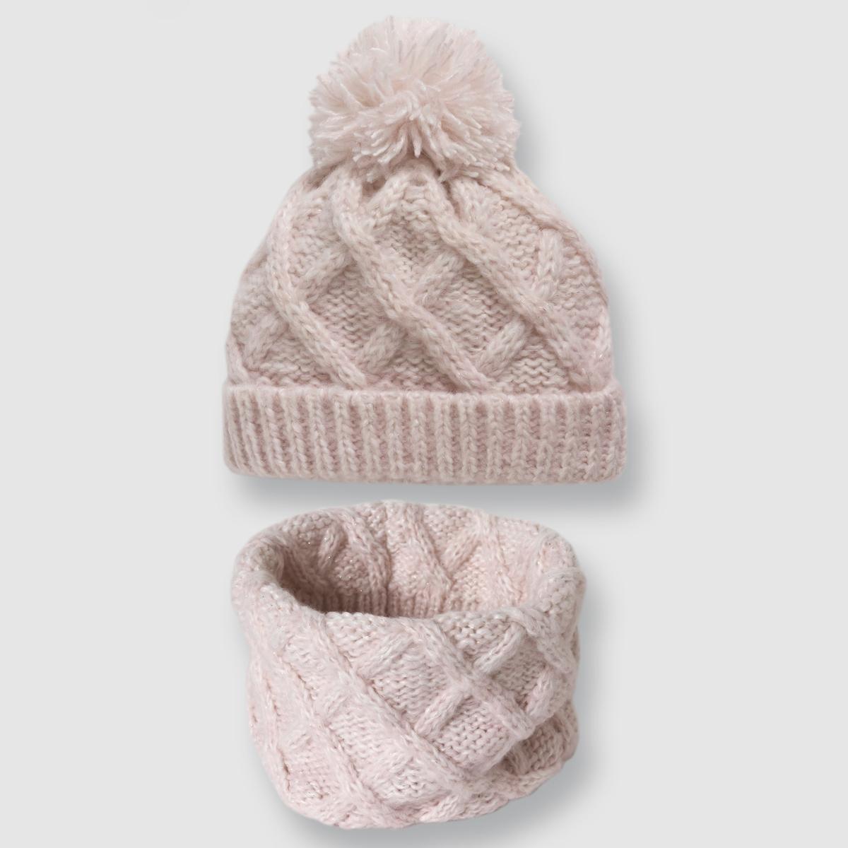 Шапочка и шарф крупной вязкиКомплект из шапочки и шарфа - R kids. Шапочка с помпоном и шарф с эффектом крупной вязки из трикотажа меланж  . Отличный комплект для зимних холодов .Состав и описание :Размер : один размерМатериал : 98% акрила, 1% полиэстера, 1% металлизированных волокон  Размер : ширина 26 см, длина 34 см Марка : R kids<br><br>Цвет: розовый,серый<br>Размер: 50 см.56 см