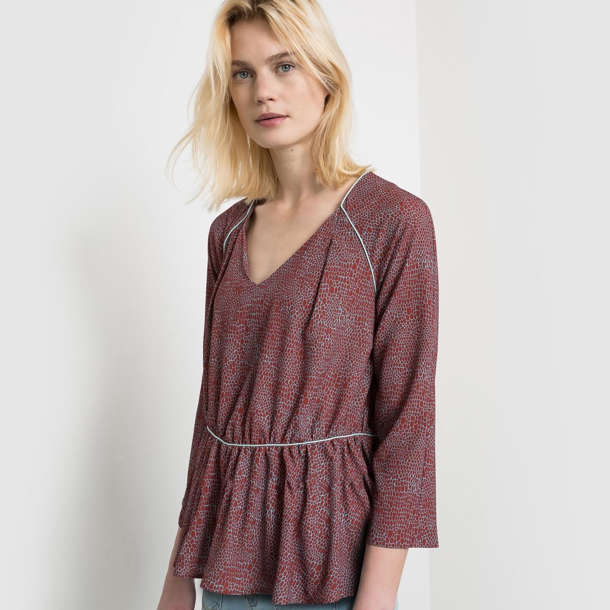 Блузка из струящейся ткани с рисунком