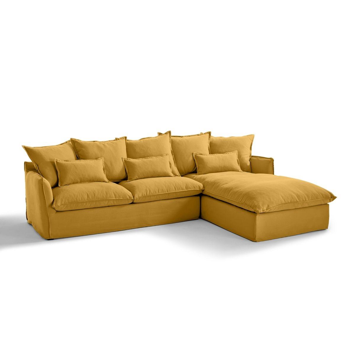 Canapé d'angle fixe en coton/lin, Odna Bultex