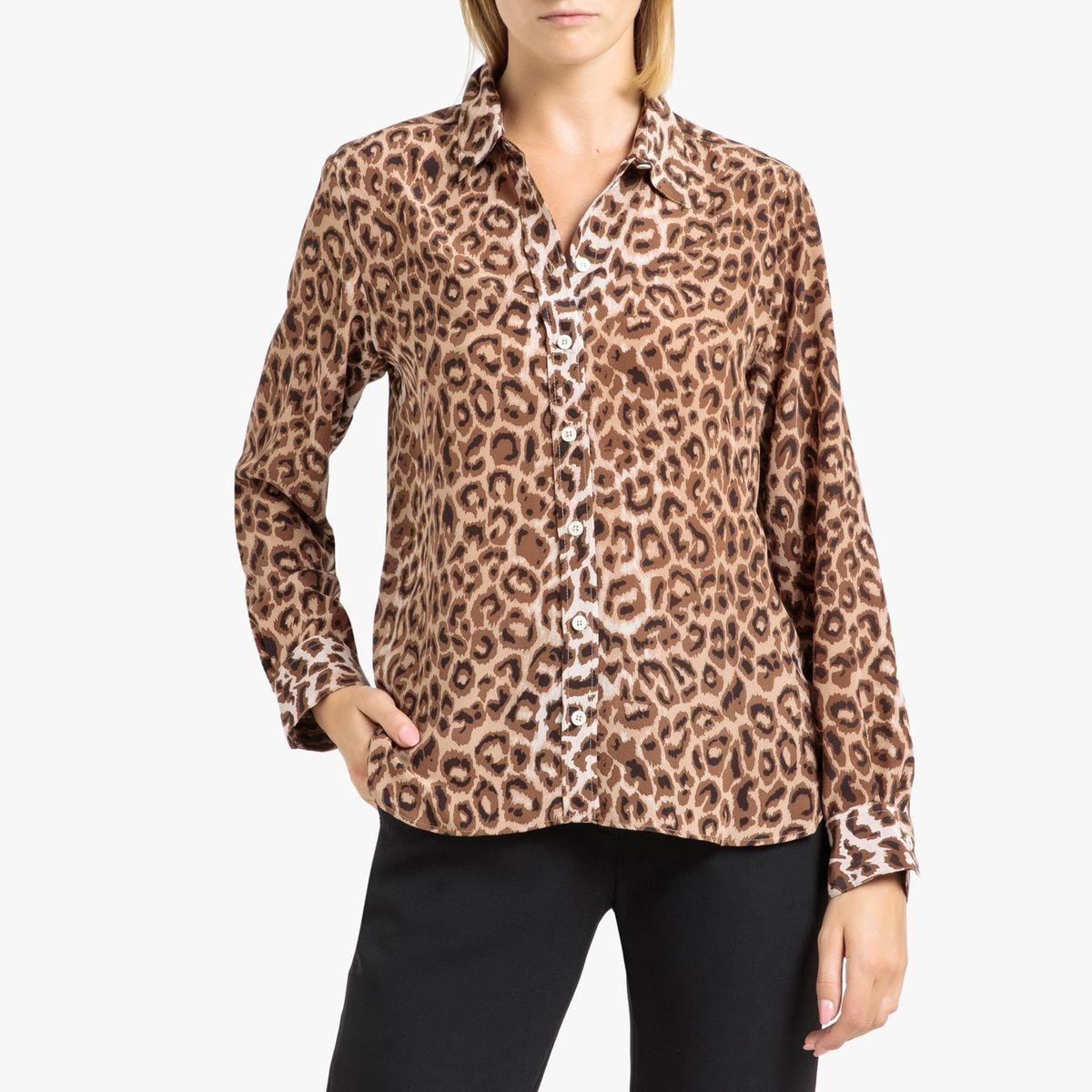 Chemise en soie, imprimé léopard à manches longues
