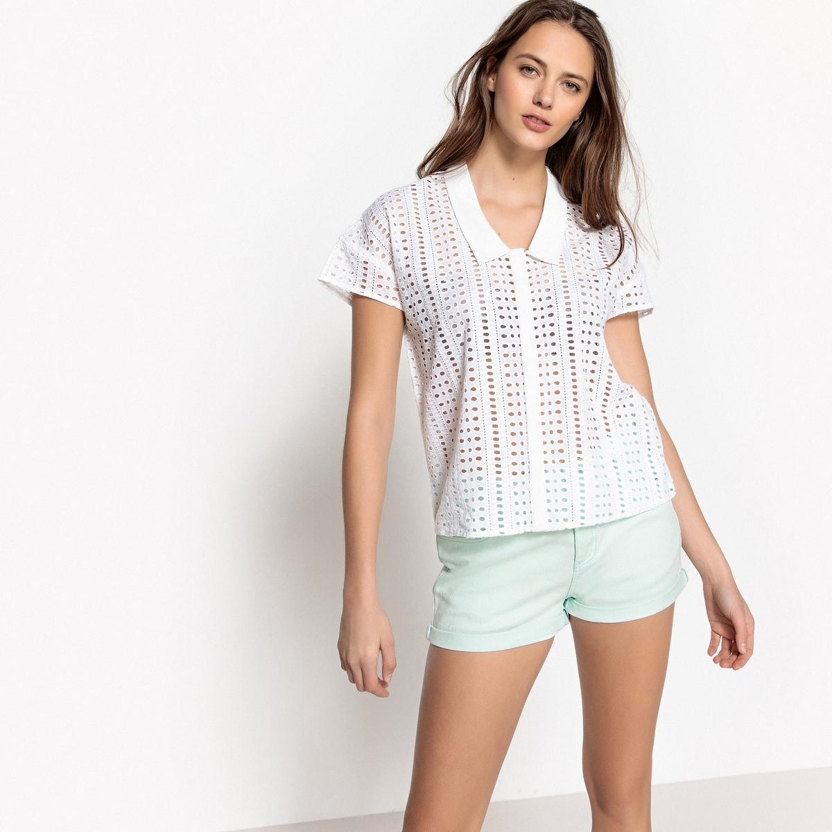 Рубашка с воротником-поло, короткими рукавами и английской вышивкой цена 2017