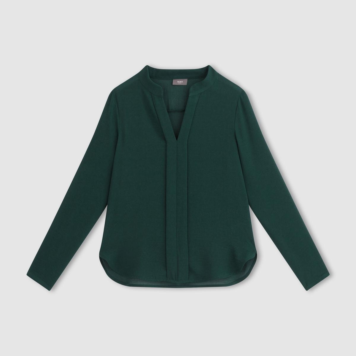 Рубашка с длинными рукавамиСостав и описание  Материал     100% полиэстера   Марка       ICHI<br><br>Цвет: зеленый лесной<br>Размер: S