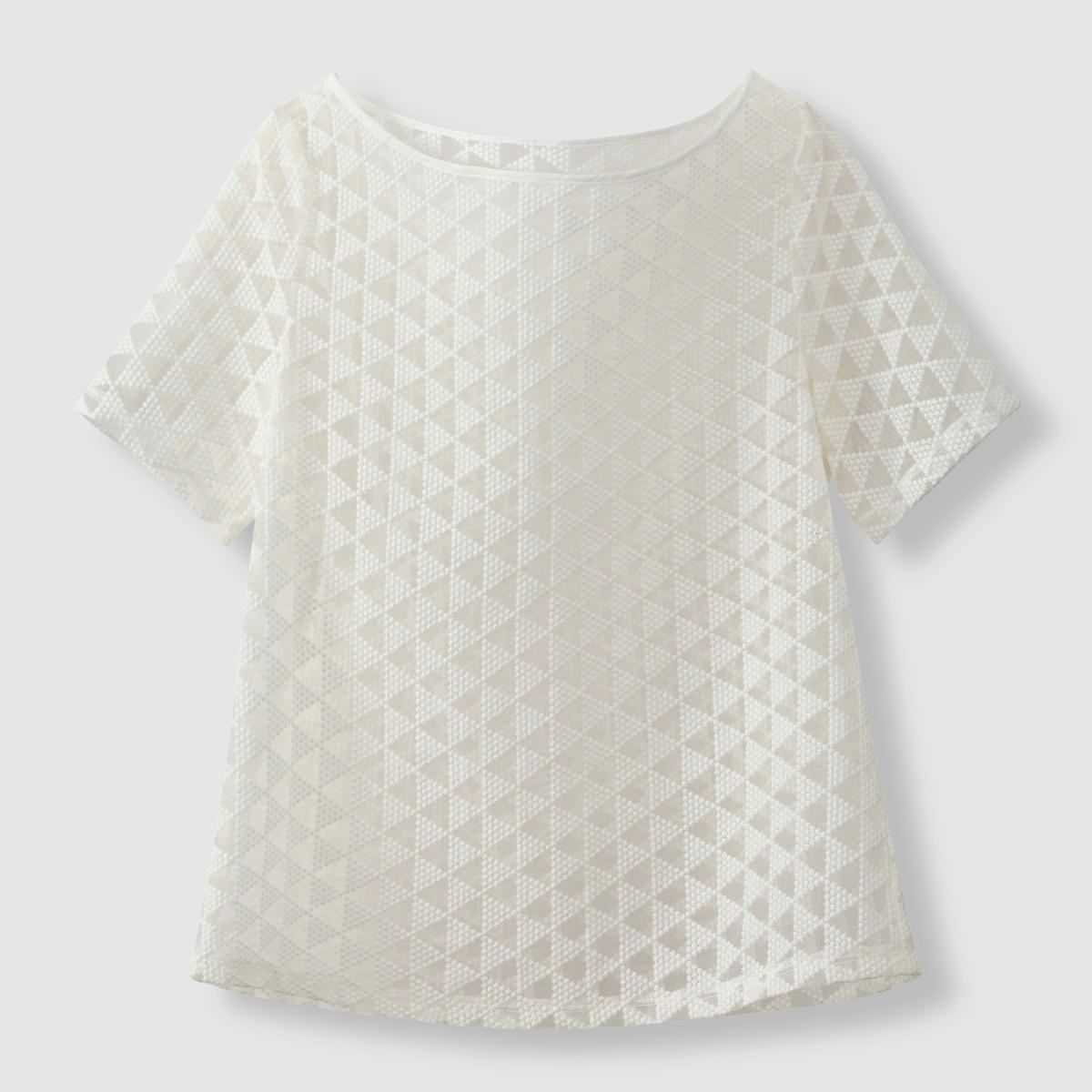 Блузка из тюля с вышитым геометрическим узором