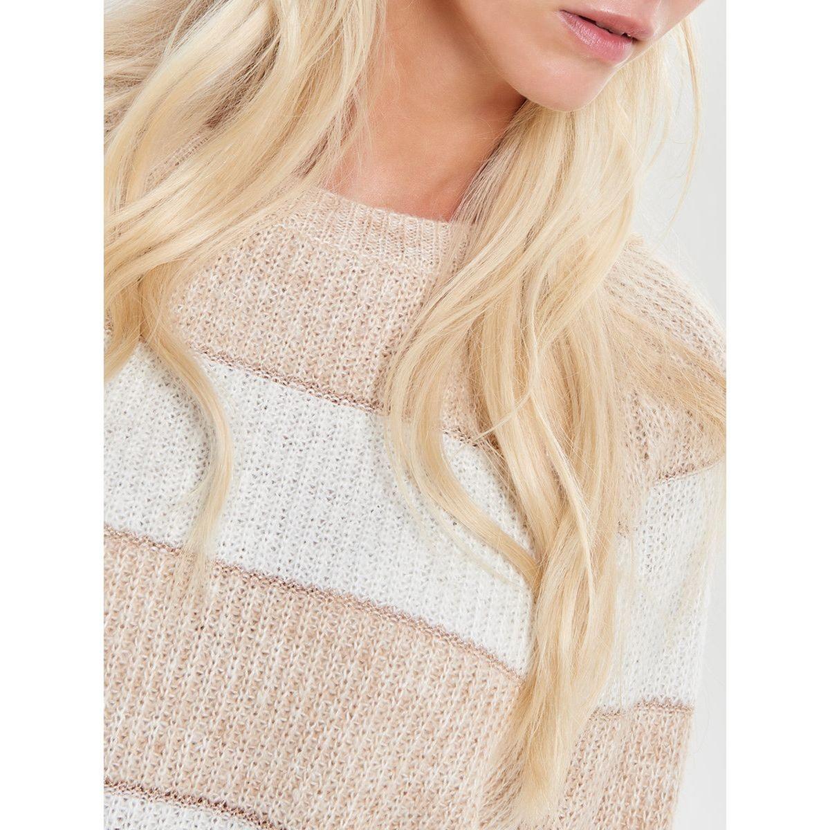 Krótki sweter w paski z okrągłym dekoltem i rękawami raglanowymi