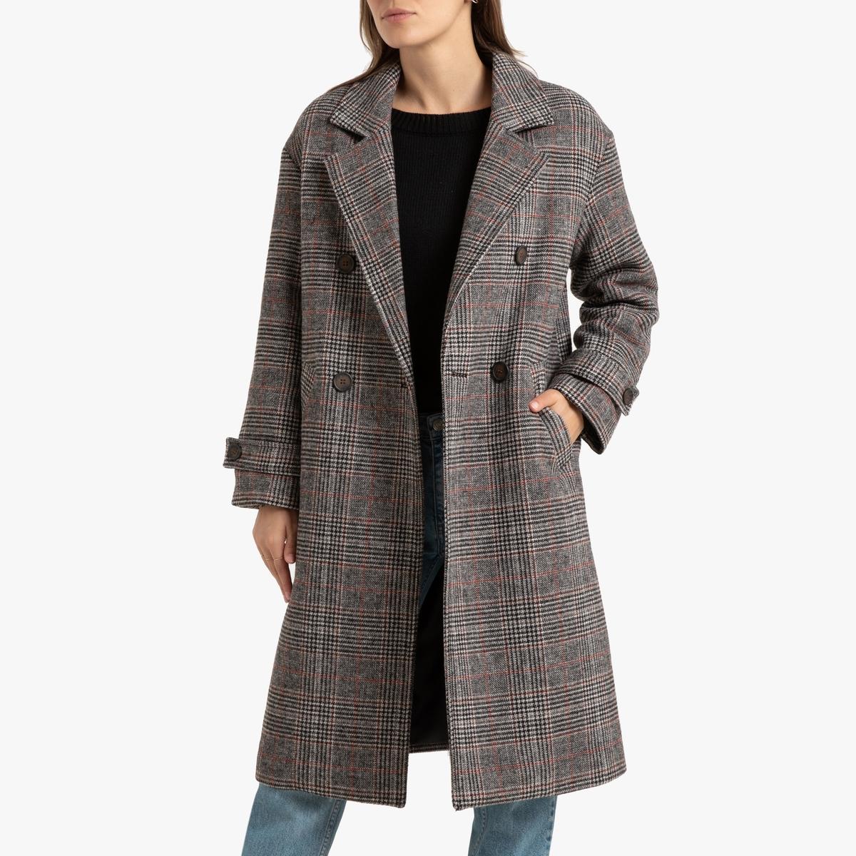 Пальто La Redoute В клетку 34 (FR) - 40 (RUS) каштановый пальто la redoute в клетку 34 fr 40 rus каштановый