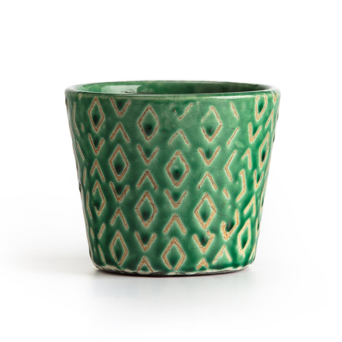 цена Кашпо La Redoute Из керамики BLAKE единый размер зеленый онлайн в 2017 году