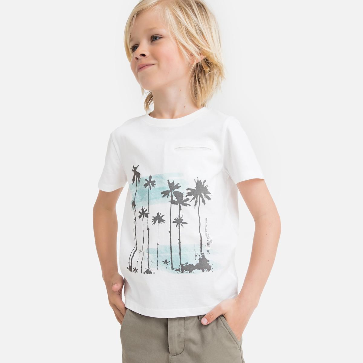 Футболка La Redoute С круглым вырезом и принтом пальмы 3 года - 94 см бежевый футболка la redoute с круглым вырезом и принтом спереди 3 года 94 см серый