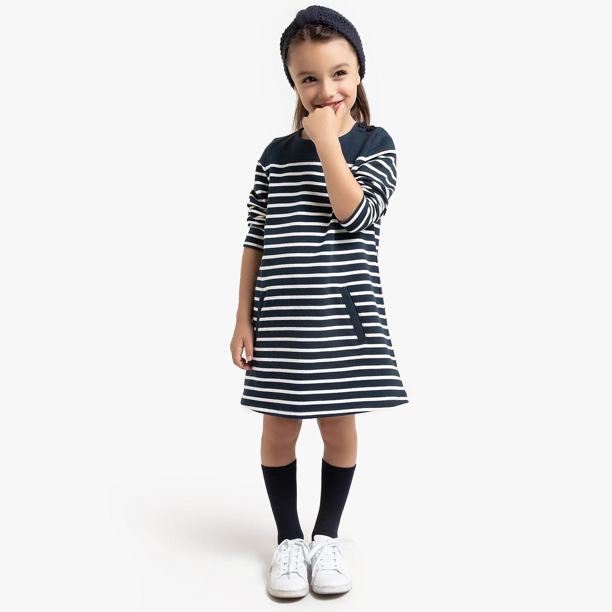 Фото - Платье LaRedoute Прямое из мольтона в полоску 3-12 лет 8 лет - 126 см другие рубашка laredoute джинсовая 3 12 лет 8 лет 126 см синий