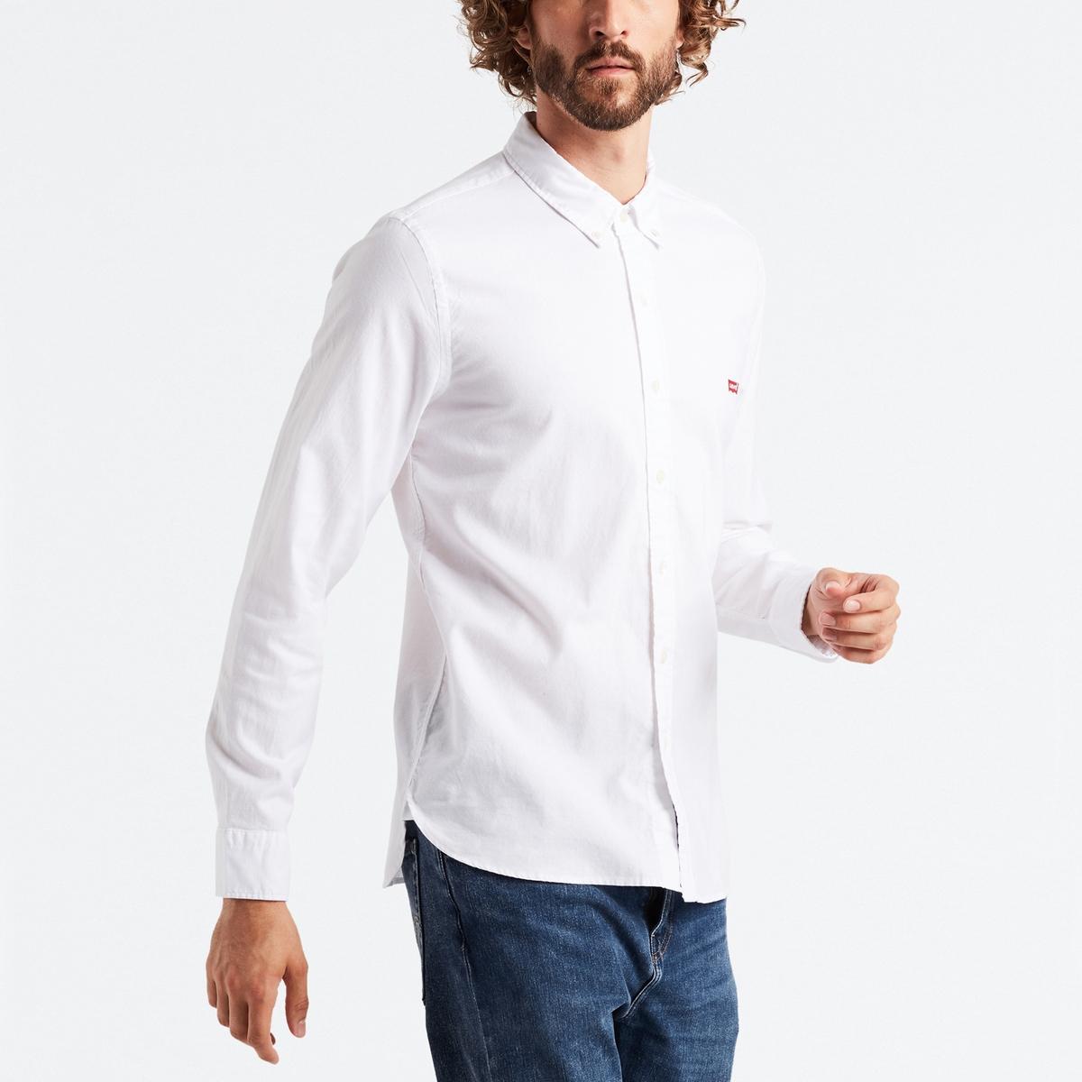 Camisa recta, manga larga, 100% algodón