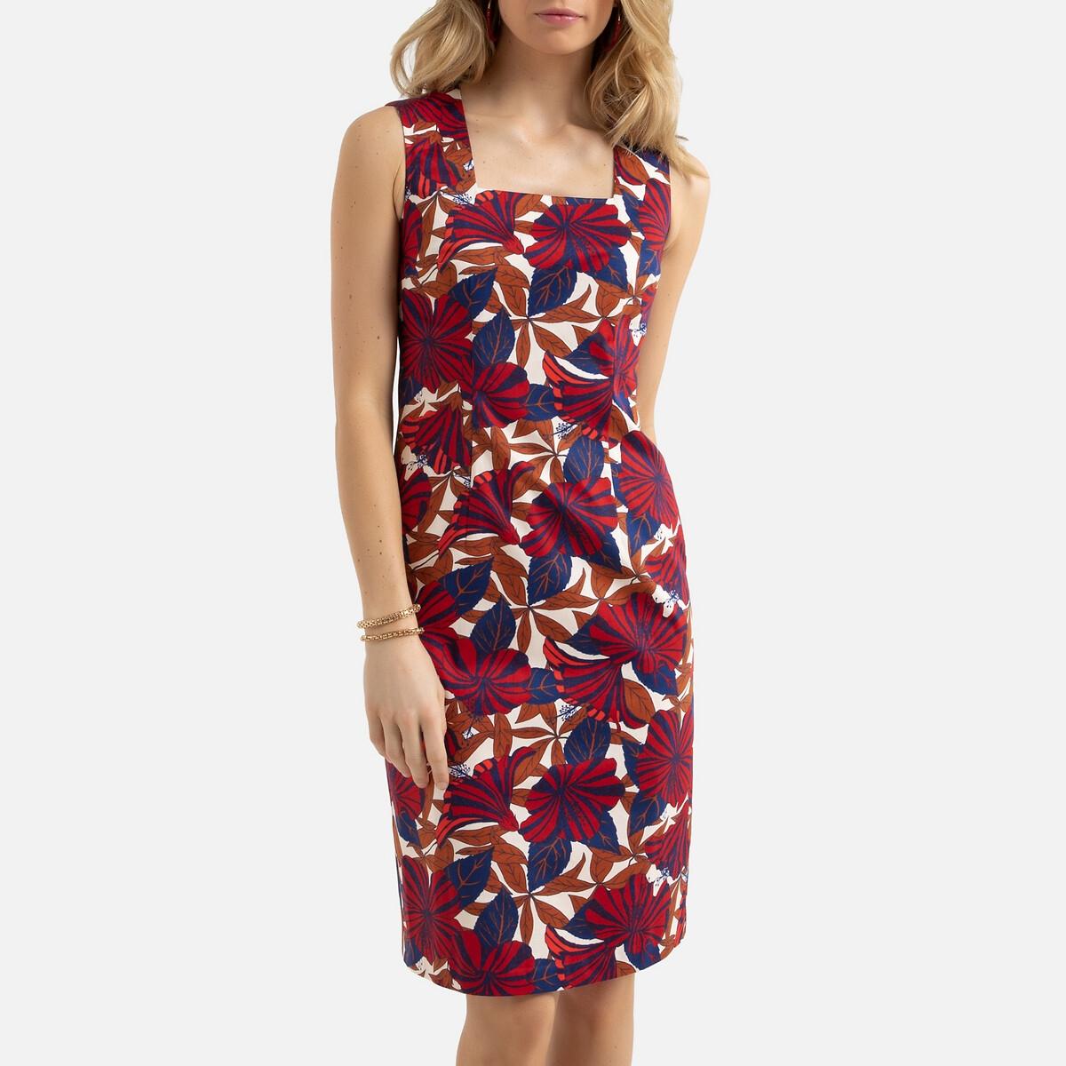 Платье La Redoute Прямое с цветочным принтом миди 50 (FR) - 56 (RUS) разноцветный платье la redoute прямое с принтом до колен 48 fr 54 rus черный