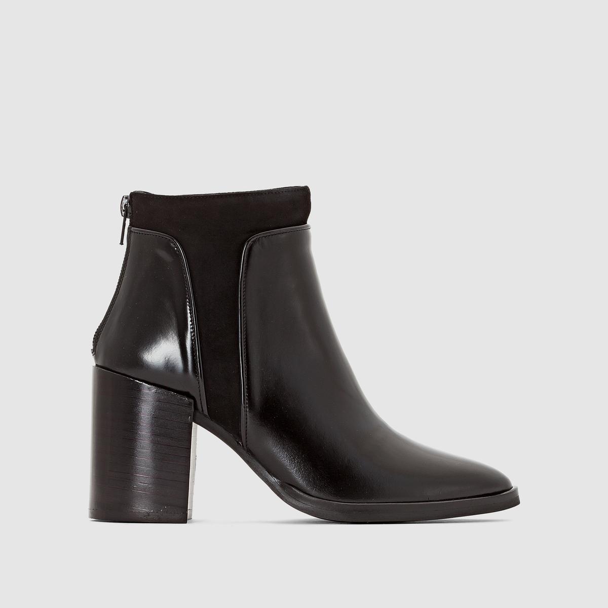 Сапоги на каблуке Varsovie, лакированная кожа + велюрПодкладка : Кожа.   Подошва : Эластомер   Высота голенища: 17 см.   Высота каблука : 8 см   Форма каблука : широкий   Мысок : Закругленный   Застежка : без застежки<br><br>Цвет: черный<br>Размер: 39